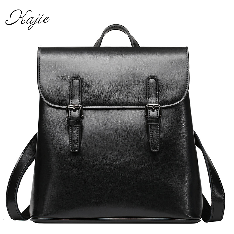 Kajie New Woman Vintage Leather Backpack Girl Travel Bag Solid Color Design Zipper Belt High Quality Schoolbag Fashion Mochila  new women leather backpack black bolsas mochila feminina girl schoolbag travel bag solid candy color green pink beige