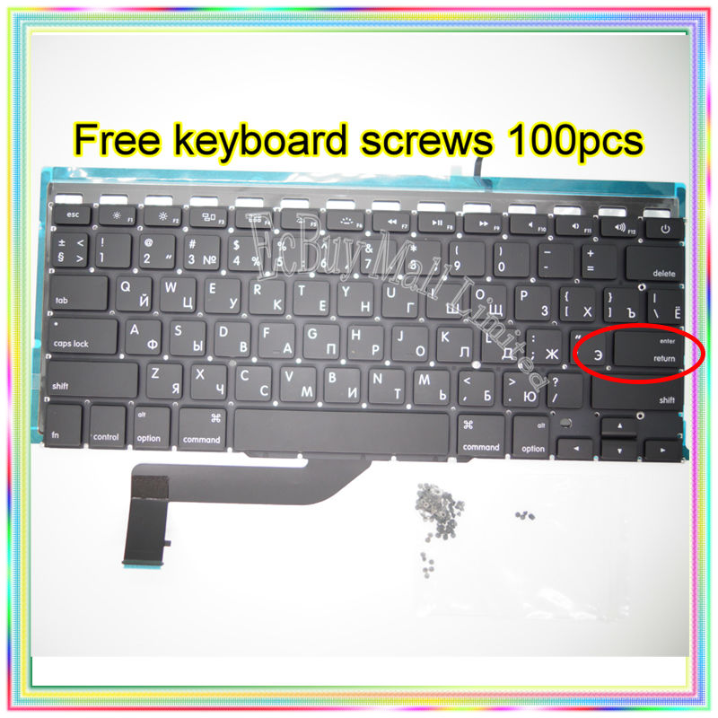 Brand New Small Enter RS Russian keyboard+Backlight Backlit+100pcs keyboard screw For MacBook Pro Retina 15.4 A1398 2013-15Year brand new azerty fr french keyboard backlight backlit 100pcs keyboard screws for macbook pro 15 4 a1286 2009 2012 years
