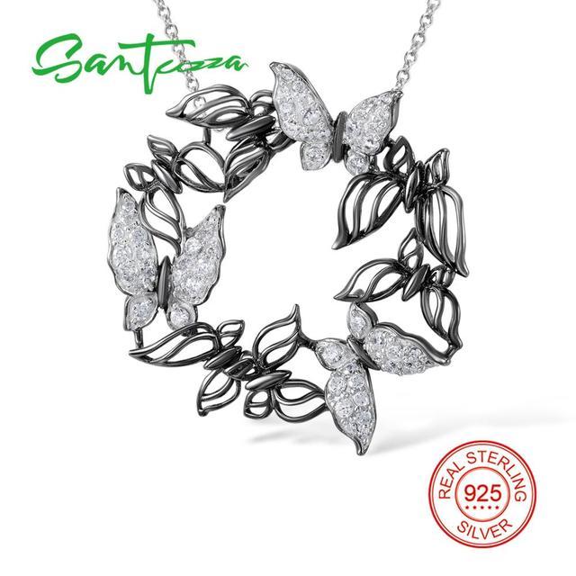 Santuzza gümüş kolye kolye kadınlar için doğal taş kolye fit kolye için 925 ayar gümüş slayt kolye kolye