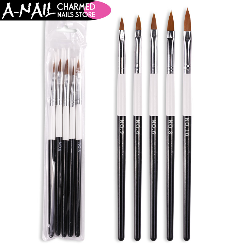 5 pcs/set Nail Art Brush UV Gel polish Acryic Nail brushs No. 2 4 6 8 10 Carving Drawing Painting Pen Manicure Nail Art Tools