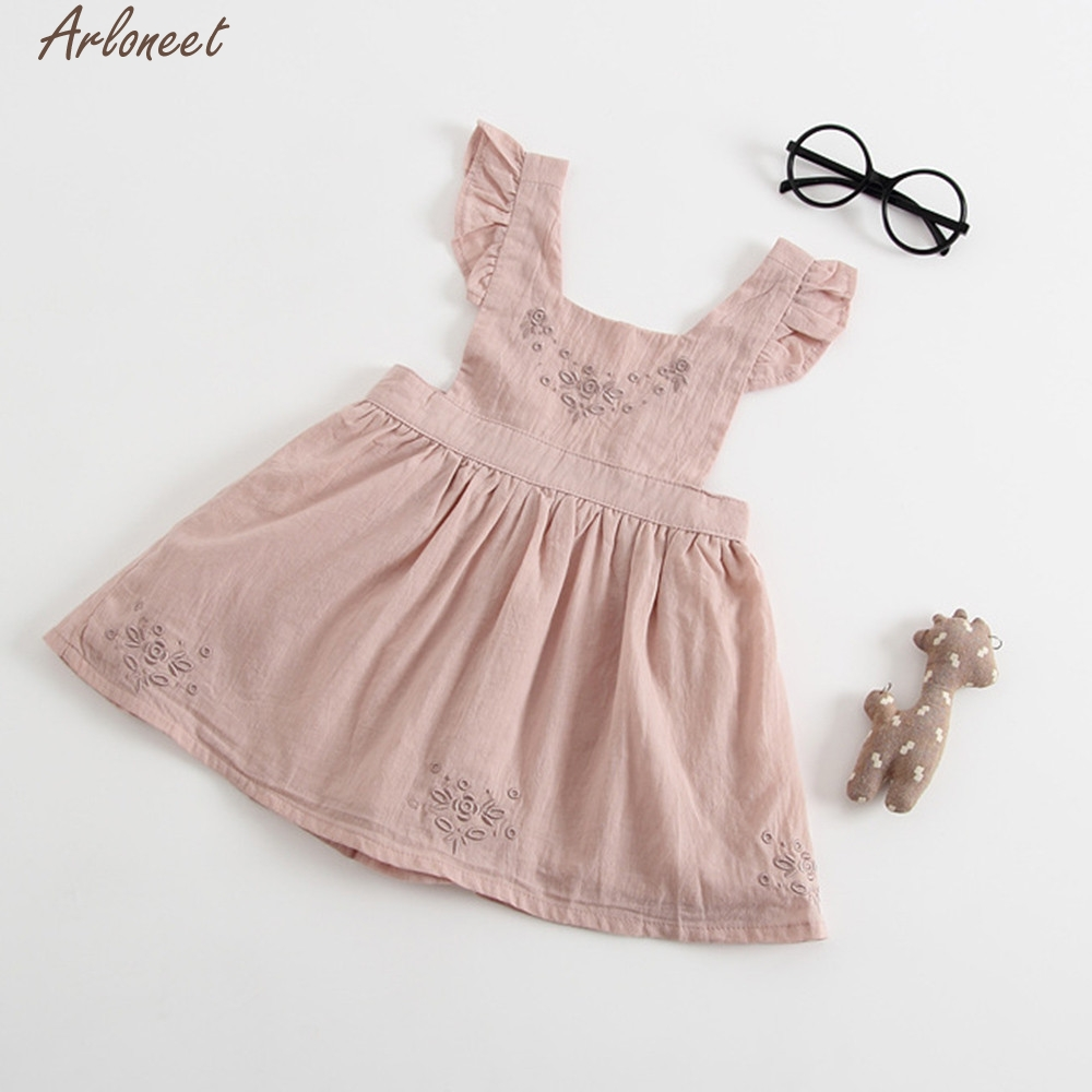 ARLONEETCotton Toddler Kids Baby Girl Floral Strap Ruffle Princess Party Pageant Dress Clothes Winter Dresses Casual Jan5