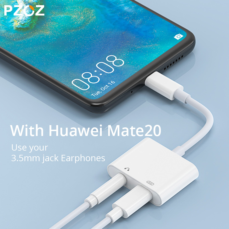 Image 5 - PZOZ 2 in 1 Type C to USB C For iPad Pro 11 Huawei Mate 20 Pro Lite Phone Adapter Charger 3.5mm Jack Earphone Data Sync Cables-in Phone Adapters & Converters from Cellphones & Telecommunications