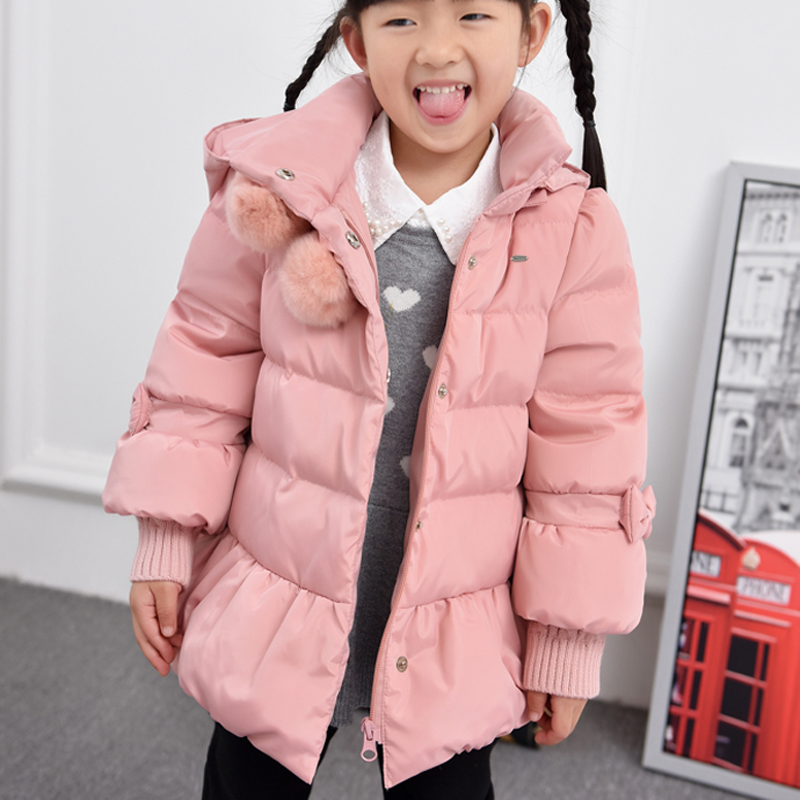 2016 Cold Winter Warm Thick Baby Child Girl Kids Hoody Long Outerwear Pink Duck Down & Parkas Jacket & Coat For Girls 100-160 cm