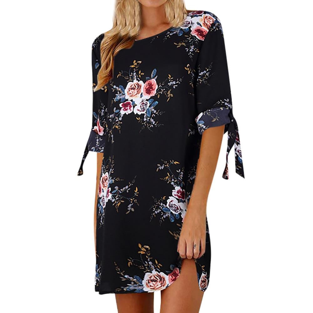 Summer Women dress 2019  Womens Floral Print Bowknot Sleeves Cocktail Mini Dress Casual Party Dress  vestidos verano