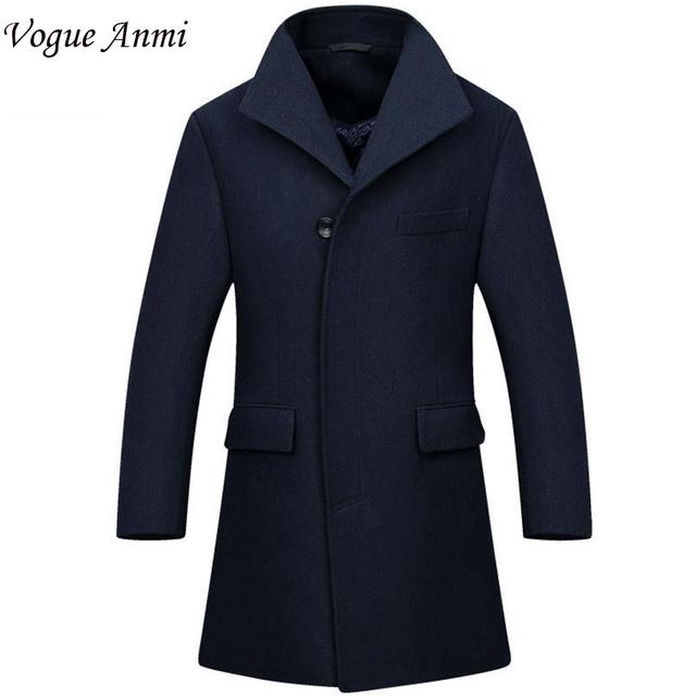 Vogue Anmi. Novo Homem Longo casaco de lã casaco de trincheira peacoat Inverno mens Casaco de lã dos homens do sobretudo dos homens casacos de vestuário masculino, M-3XL, 1668