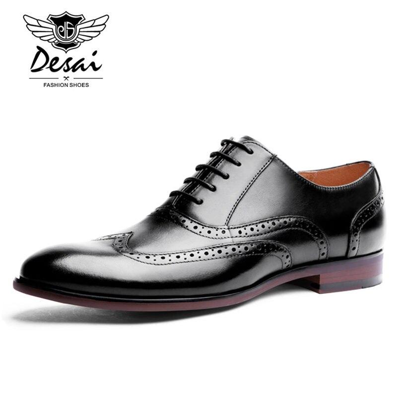 DESAI/Брендовые мужские туфли оксфорды из кожи с натуральным лицевым покрытием; Мужские модельные туфли в британском ретро стиле с перфорацие... - 5