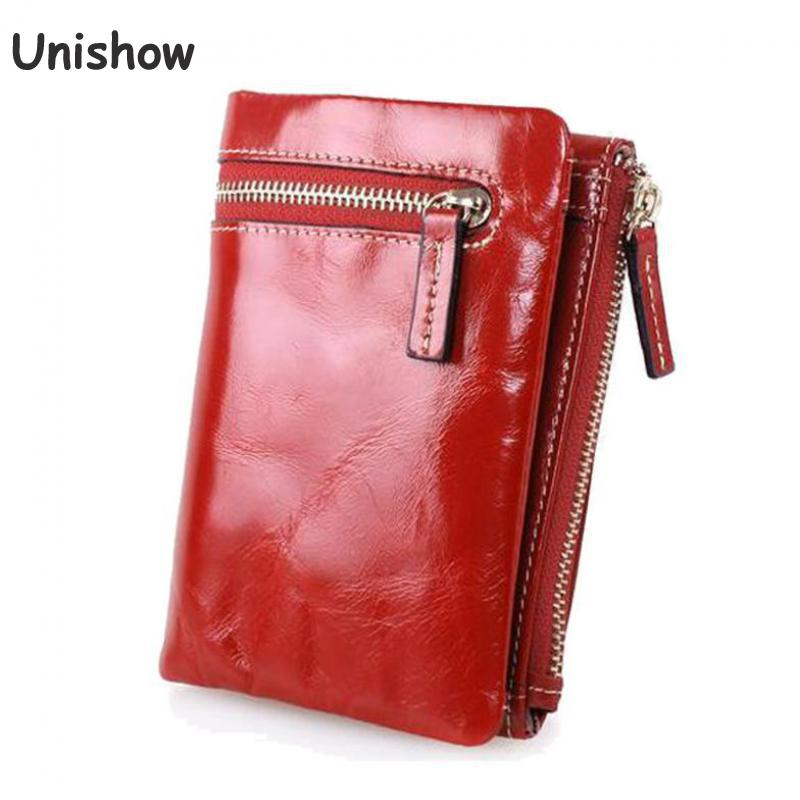 Vintage women Genuine Leather wallet short pattern wallet small zipper women leather purse female wallet brand