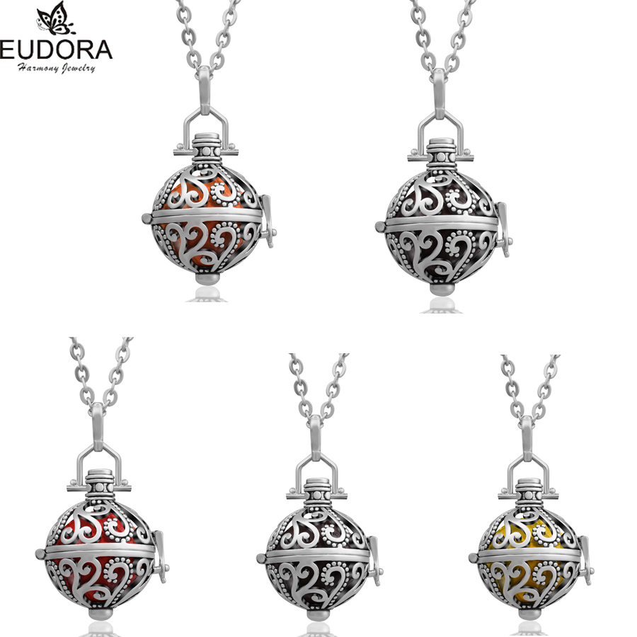 Fashion Pendant Jewelry Vintage Copper Locket Pendant Chime Ball Guardian Angel Chain Mexican Bola Necklace Pregnant Gift H064