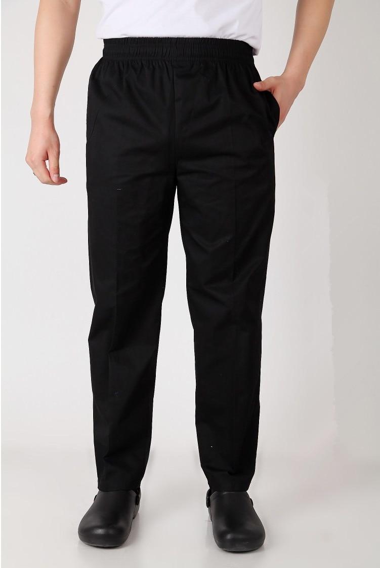 New Style Black Chef Uniform Restaurant Kitchen Trouser Chef Pants Elastic Waist Bottoms Food Service Pants Mens Work Wear