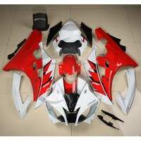 Motorcycle Red White INJECTION ABS Fairing Bodywork Set For YAMAHA YZF R6 YZF R6 2006 2007 06 07 19A