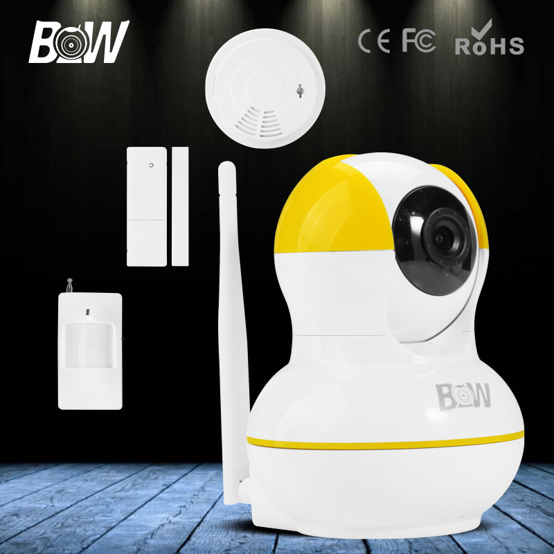 bw hd 720p wireless ip camera wifi night vision motion door sensor smoke detector alarm. Black Bedroom Furniture Sets. Home Design Ideas