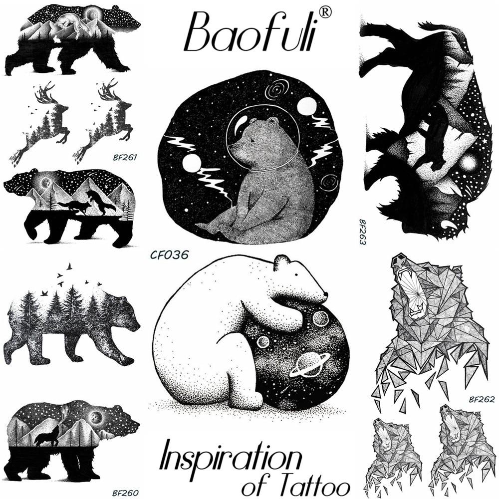 Baofuli Planet Bear Astronaut Temporary Tattoo Forest Black Galaxy Fake Tatto Body Art Tattoo Universe Cartoon Girl Boy Arm Hand