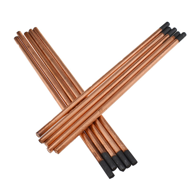 5pcs New air carbon arc gouging rods copper flat round graphite electrode rod for DC gas gouging gun electrode carbon rod 4-10mm