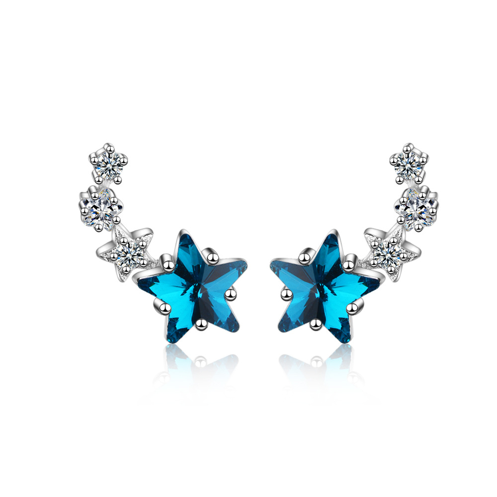 New Fashion 925 Sterling Silver Zircon Cute Blue Crystal Star Stud Earrings For Women Female Jewelry Birthday Gift Drop Shipping