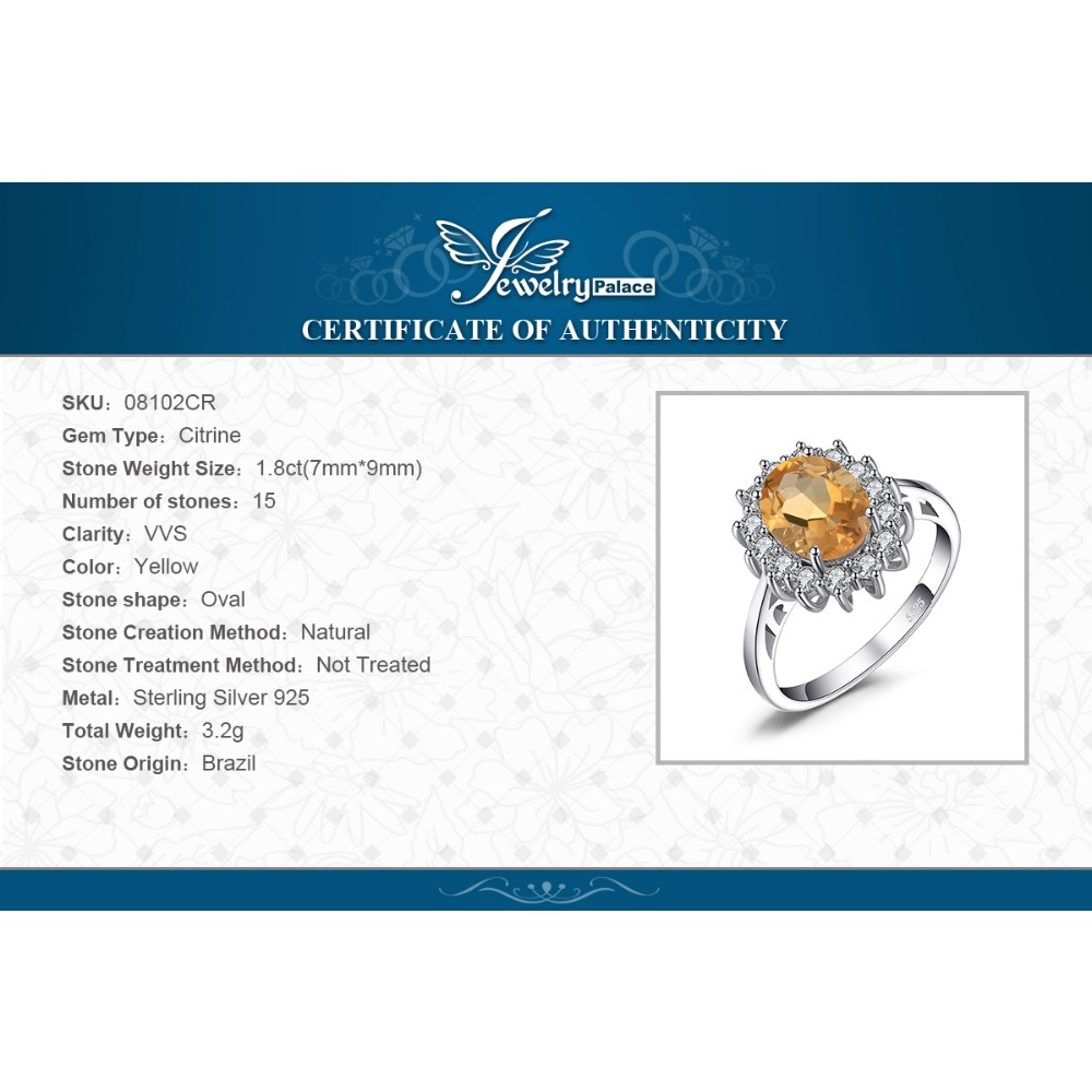 Image 5 - JewPalace Princess Diana Genuine Citrine Ring 925 Sterling Silver Rings for Women Engagement Ring Silver 925 Gemstones Jewelryring 925ring forrings for women -