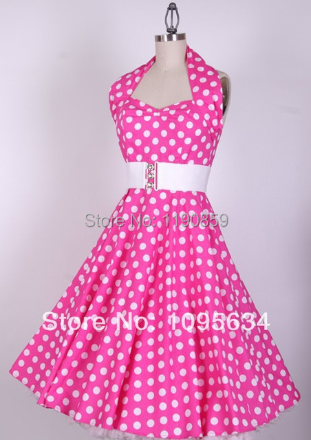 f99ef9f1e15 free shipping hot pink 50s Dots Pinup Halter Neck Swing Dress Rockabilly