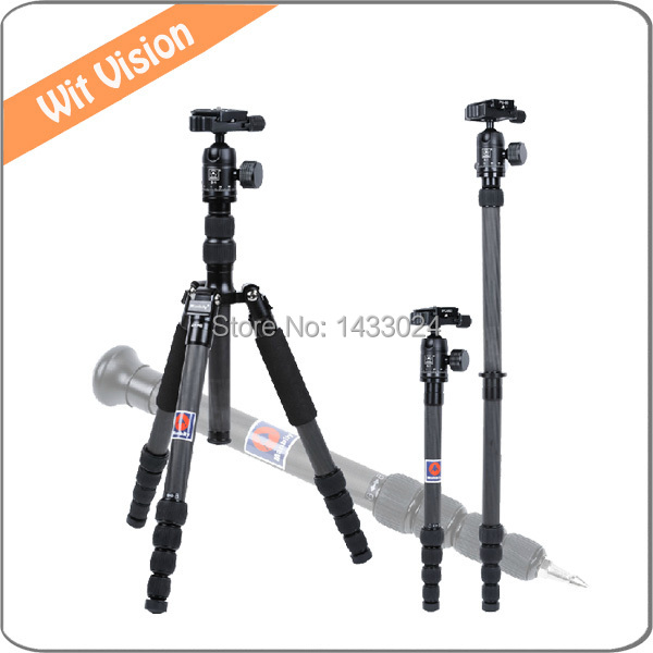 5 Sections Carbon Fiber Camera Photographic Tripod Portable Stand With 360 Degree Ball Head Carry Bag For Photo and Video