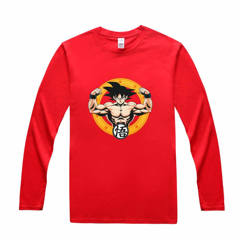 Новый аниме Dragon Ball Z футболки Для мужчин прохладный Сон Гоку хлопковая футболка с длинным рукавом «Жемчуг дракона» футболка бесплатная доставка