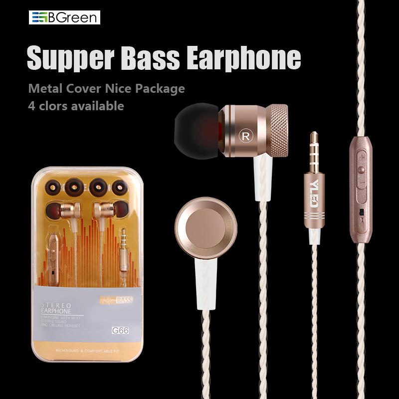 "BGreen G66 ""Bass Stereo Cell Phone"" ausinės su mikrofonu MP3 grotuvui ""Android"" iPhone 7 7S S8 Mate 9 PASTABA 8"