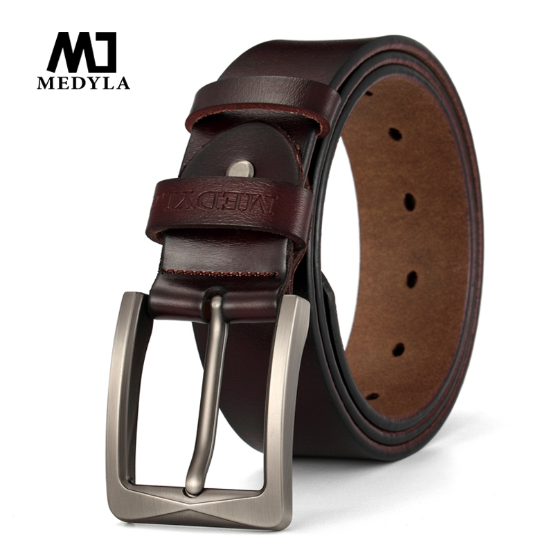MEDYLA Dropshipping 100% Cowhide Genuine Leather Belt for Men Luxury Brand Designer Pin Buckle Vintage Waistband Jeans Belt Gift
