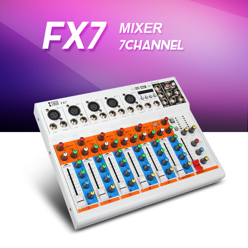 Top quality Xtuga FX7 7 Channels Audio Mixer With Usb/bluetooth/Mp3 Input Sound Console Dj Equipment Mixer Balanced Power Supply