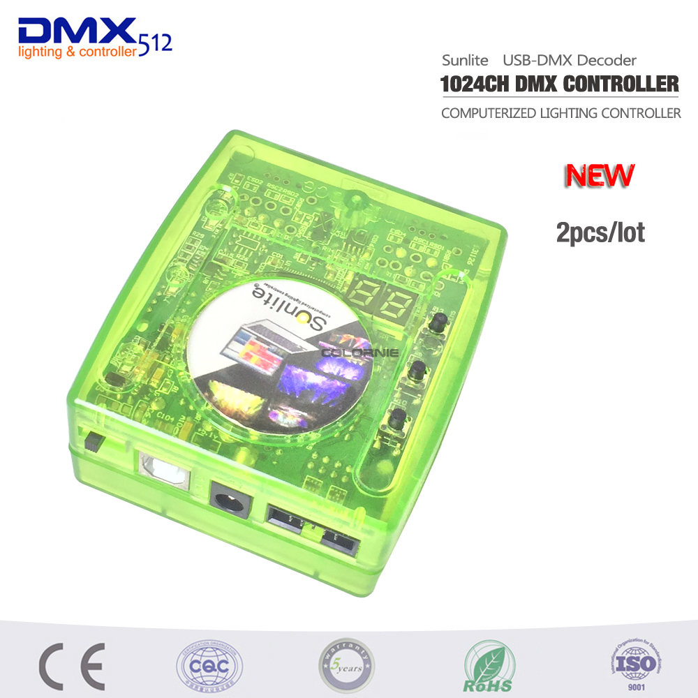 DHL Free shipping 2PCS Sunlite computer dmx controller Intelligent USB DMX Interface 3D software/Scan liberty editor/easy show ...