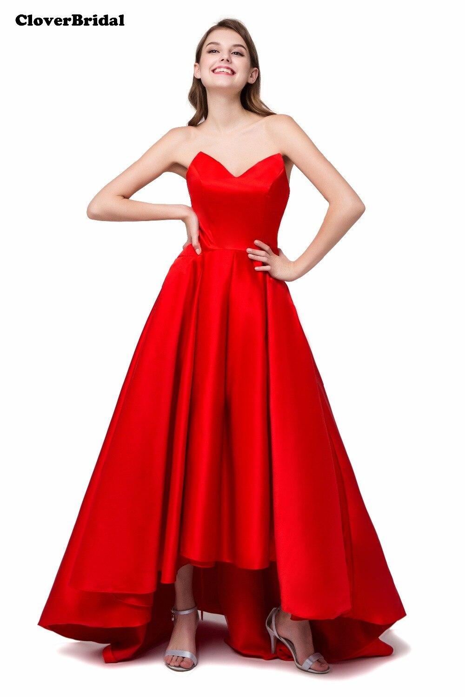 Mignon satin col en V a-ligne grand volume jupe rouge cheville longueur robes de cocktail court avant long dos 2017 prêt à expédier