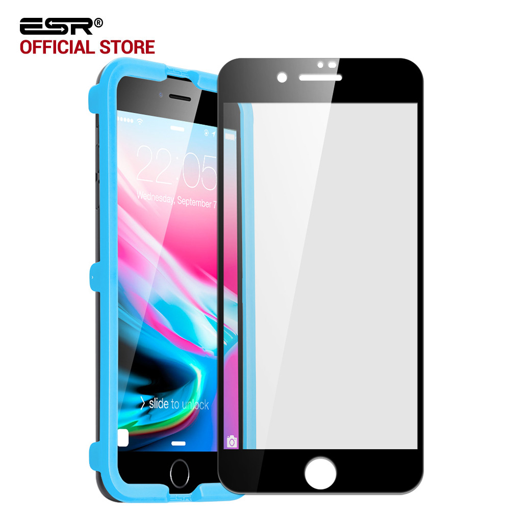 screen protector for iphone 8 8 plus esr full coverage screen easy install clear tempered glass. Black Bedroom Furniture Sets. Home Design Ideas
