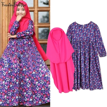 Muslim Girls Prayer Long Hijab Dress Set Floral Print Arab Abaya
