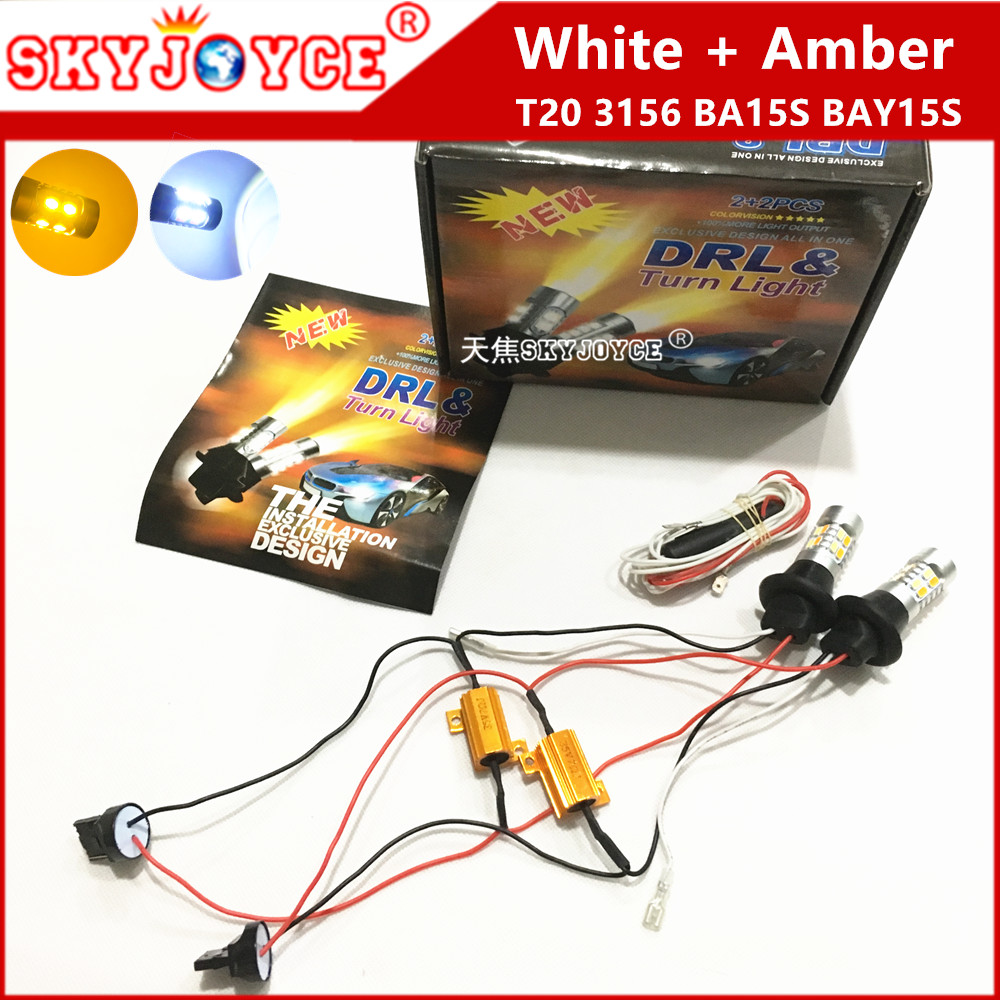 10 sets DHL wholesale canbus t20 led front turning signal lights white amber t20 decoder 5630 t20 7440 led drl 3156 BA15S BAY15S