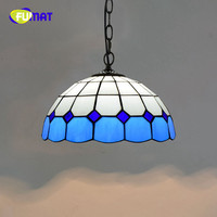 FUMAT European Modern Mediterranean Creative Tiffany Stained Glass Blue/Green Living room dining room Chandelier 30CM