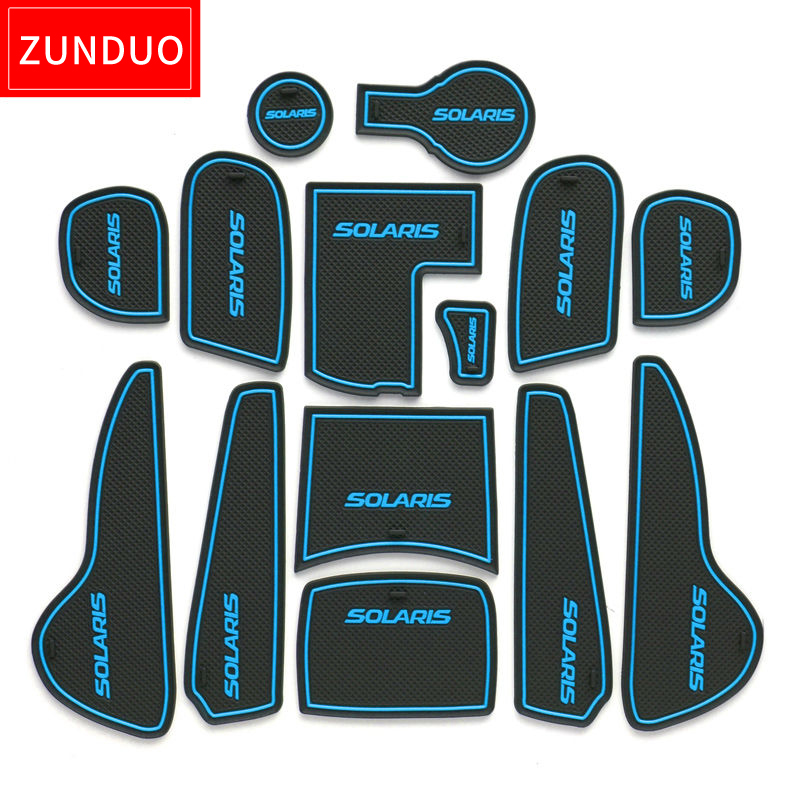 ZUNDUO Gate slot pad For Hyundai Solaris 2011 2016 Door Groove Mat Automotive interior Non slip mats and dust mat red blue whit