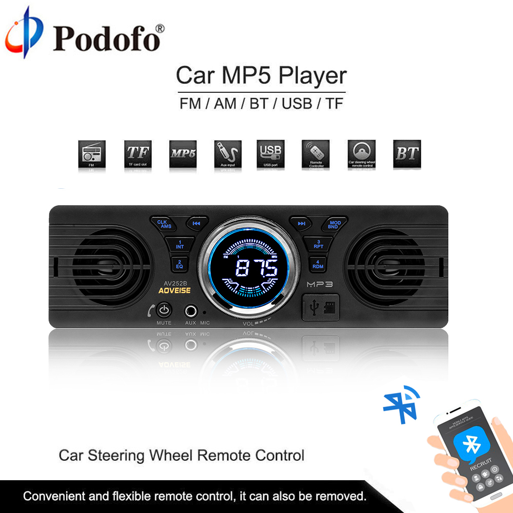 Podofo AV252B Car Radio Stereo Player Bluetooth Phone 1din In-dash AUX-IN MP3 FM/USB/SD remote control 12V Car Audio Autoradio amprime car radio stereo audio mp3 player 1 din in dash digital bluetooth phone aux in mp3 fm usb sd remote control 12v input