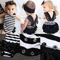 Nova Chegada do Verão Crianças Recém-nascidas Do Bebê Roupas Das Meninas Listrado Rendas Jumpsuit Playsuit Romper + Headband Moda Outfit Set Para 0-18 M