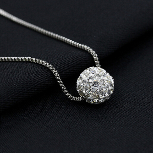 Fashion new jewelry accessories silver crystal rhinestone pave disco fashion new jewelry accessories silver crystal rhinestone pave disco silver round ball pendant choker necklace woman aloadofball Images