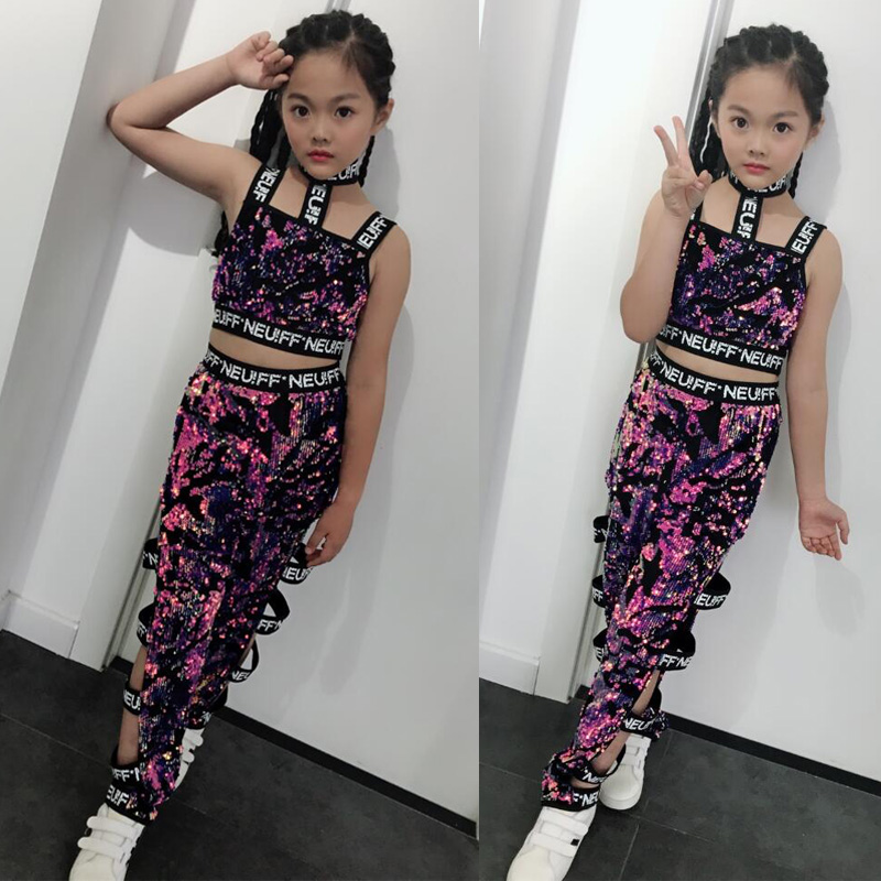 25 ensembles pourpre paillettes Jazz moderne danse Costumes robe enfants Hip Hop danse porter Costumes ensemble Top + pantalon tenues
