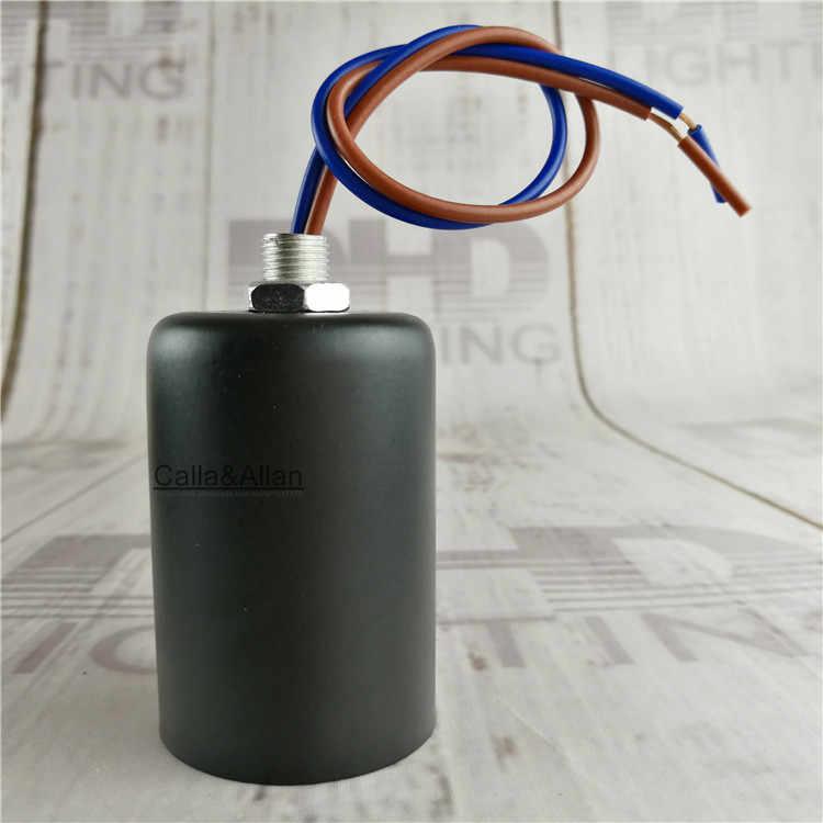 2pcs/10pcs quality vintage E27 black iron cover with plastic socket lamp holder edison lighting socket base installed wire