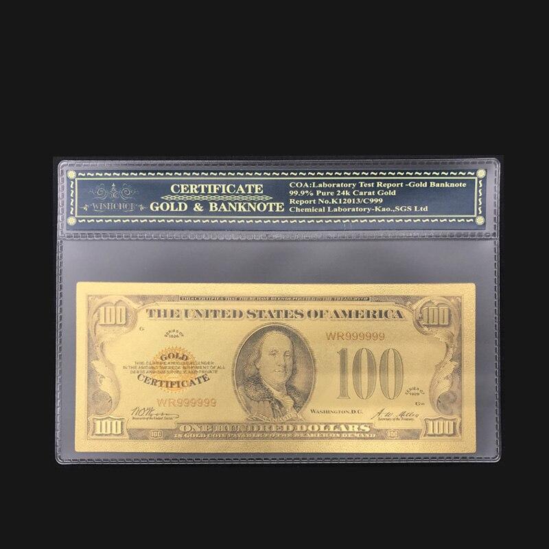 Цветная американская золотая банкнота 1928 долларов США банкноты поддельные деньги драгоценный подарок с оправой для коллекции компаний