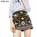 Uwback 2017 nuevo otoño mujeres de la falda del estilo de bohemia una línea de bordado étnico falda naitonal negro floral mini faldas mujeres cbb319