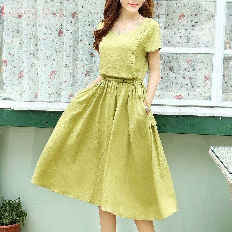 2016 short sleeve linen dress solid color slim waist for Solid color short sleeve dress shirts