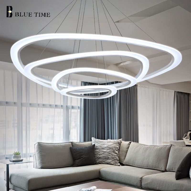 Acrylic Circle Rings White Finished Modern Chandelier Led For Living Room Light Simple European Chandelier Lighting Fixtures modern crystal chandelier led hanging lighting european style glass chandeliers light for living dining room restaurant decor