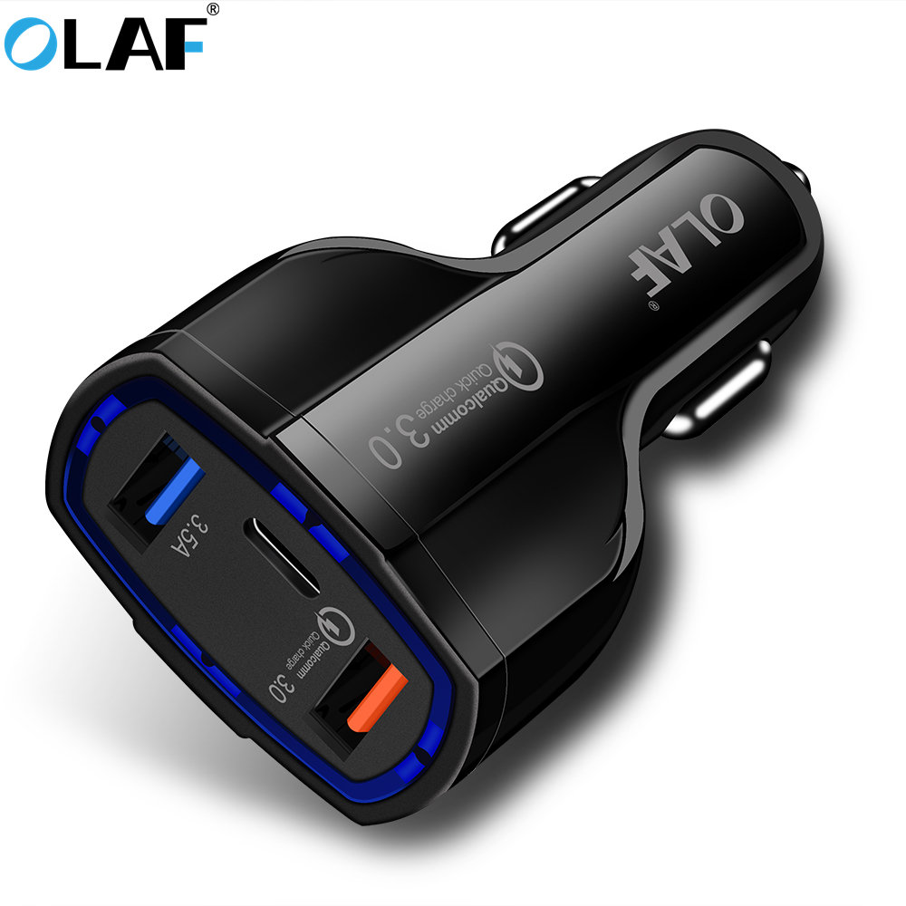 OALF 2-in-1 Car Charger USB Type C Car-Charger Phone Quick Charge 3.0 Charger for Car Universal USB Charger for Phone Galaxy S8