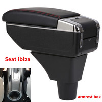 For Seat ibiza armrest box central Store content Storage box Seat armrest box with cup holder ashtray USB interface|Armrests| |  -