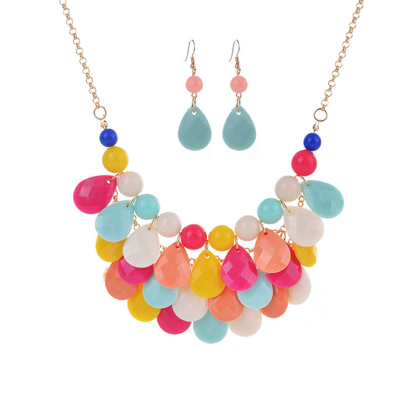 2019 Fashion Women Jewelry Sets Bohemian Crystal Beads Multi Layer Statement Necklace Set Wedding Parure Bijoux Femme Gifts