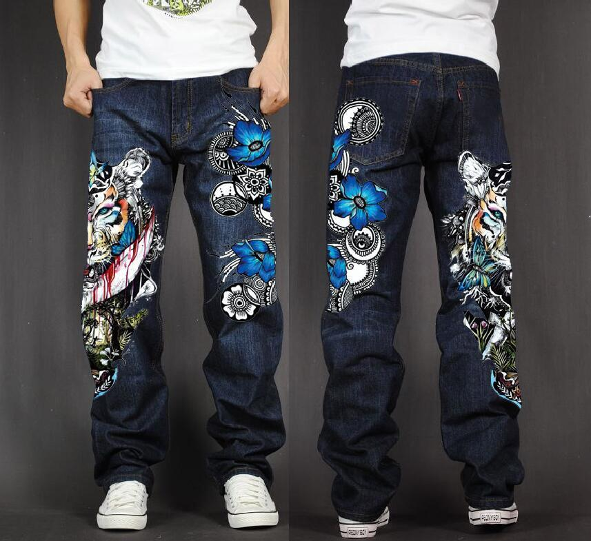 Men's Long Pants Baggy Loose Fit Jeans Rap Hip Hop Skate Denim Print Trousers Straight Stretch Casual Trousers Tiger Flowers
