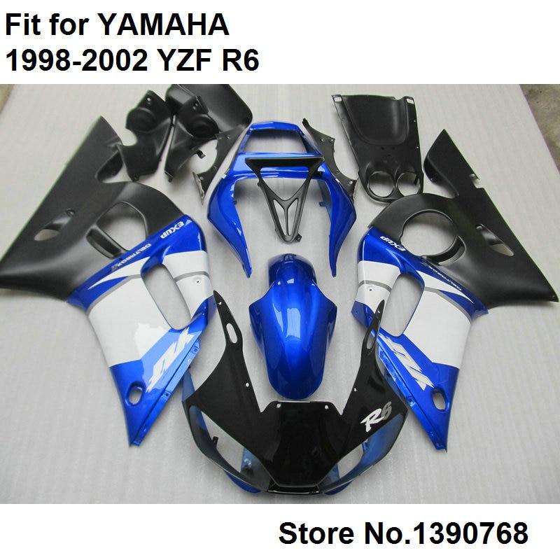 Bodywork fairing kit for Yamaha R6 98 99 00 01 02 blue white black motorcycle fairings