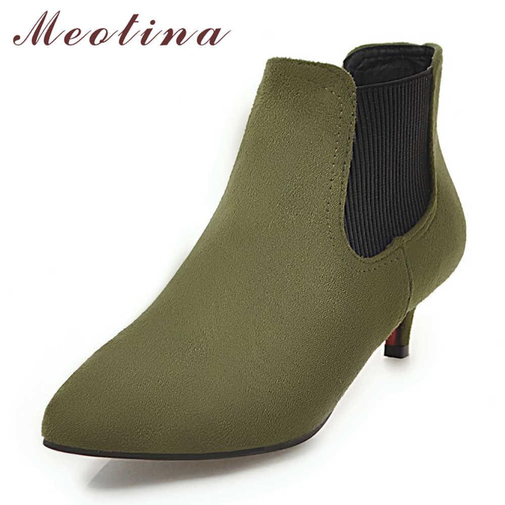 Женские ботильоны с заостренным носком Meotina, зеленые низкие ботинки на среднем каблуке-шпильке, без застежки, большие размеры до 46, осень-зима 2018