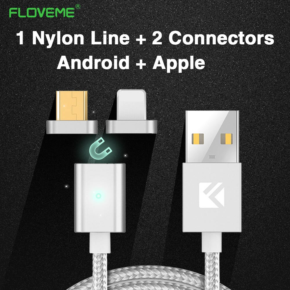 FLOVEME Magnetic Cable For Apple iPhone 6 7 Plus 5 5S Fast Data Cable Nylon Line Micro USB For Android For Samsung Huawei Xiaomi