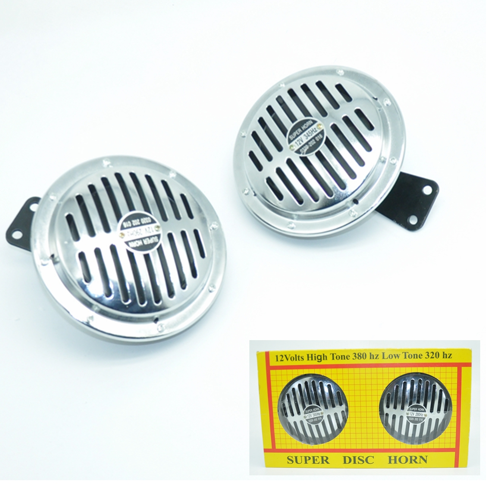 Chrome Super Loud Compact Electric Blast Tone Horn For Motorcycle Chopper 12V