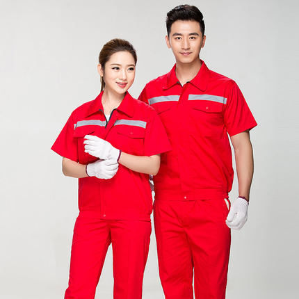 Summer Reflective Thin Work Clothing Sets Unisex Workwear Suits short Sleeve Jacket+Pants Working Factory Uniforms Repair Worker 1